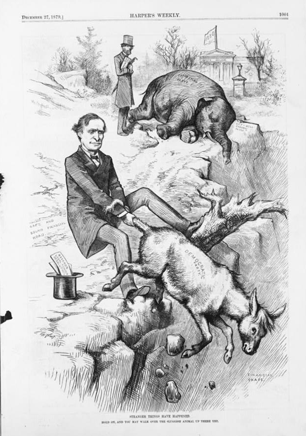 Thomas Nast dead elephant and Donkey over cliff