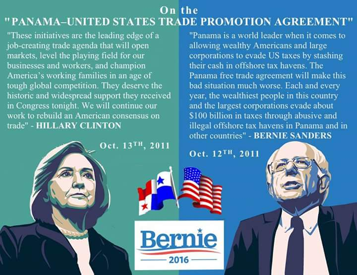 Hillary vs Bernie on Panama Trade Agreement